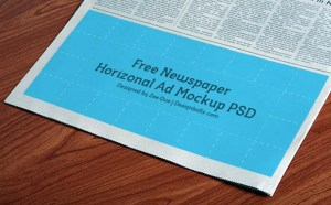 Free Horizontal Newspaper Advertising Mockup