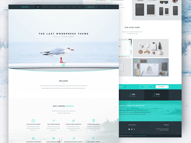 Octavia : Free Flat Landing Page PSD Template