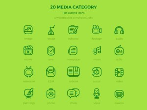 20 Free Flat Outline Media Icons