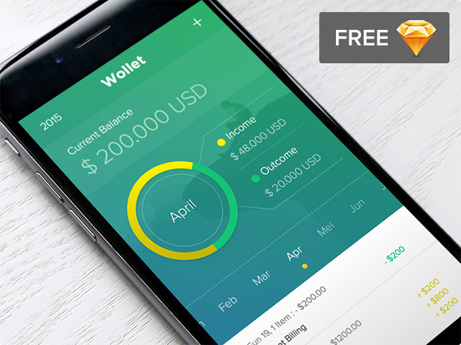 Wollet : Free Financial App UI (Sketch)