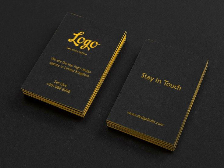 Free Black Vertical Business Card Mockup