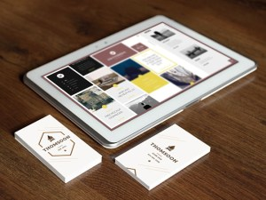 Tablet and Business Cards Mockups