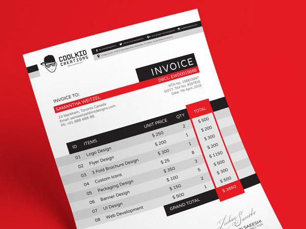 Free Invoice Design Template (AI & EPS)