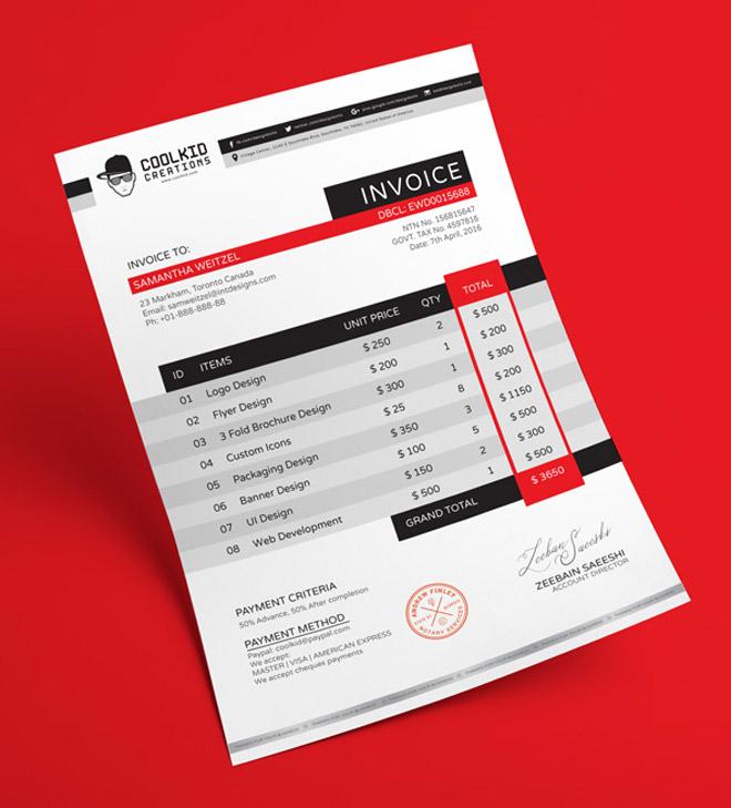 design invoice template free