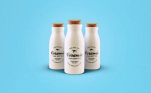 free ceramic bottles mockup