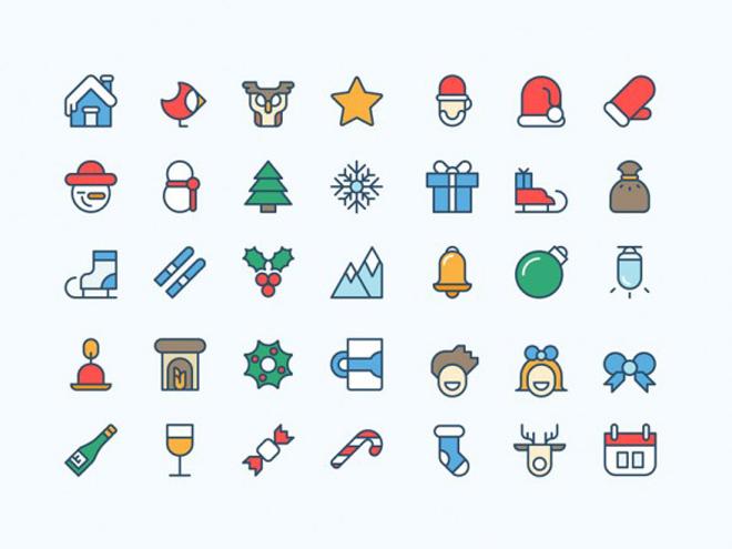 Free Coloured Christmas icons
