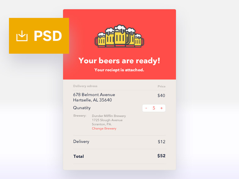 Free Email Receipt PSD