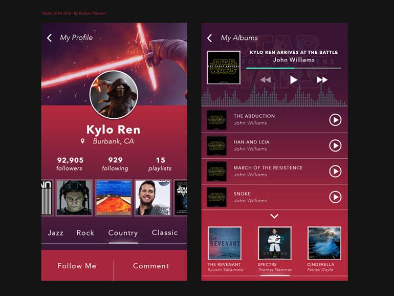 MP3 Playlist App UI PSD