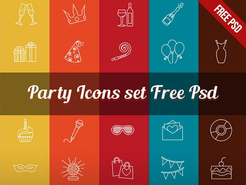 Free Party Icon Set PSD