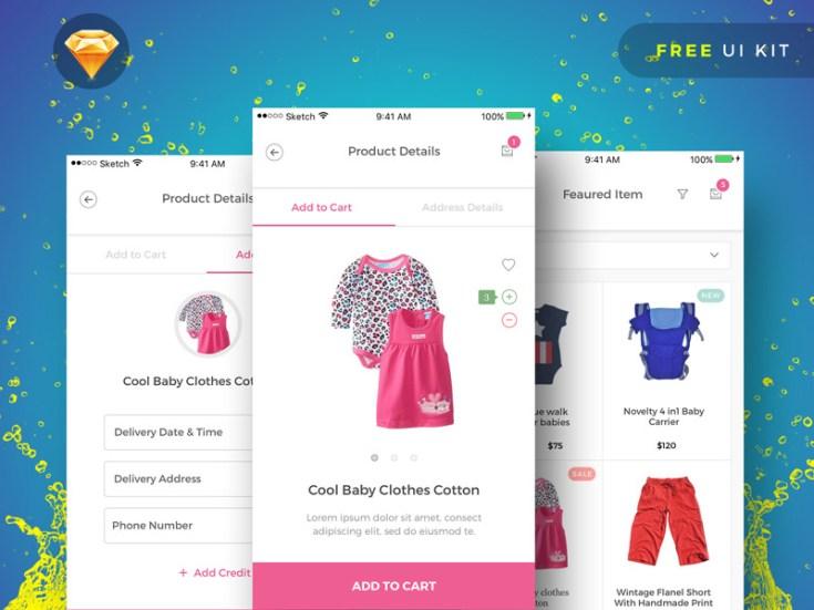 BabyPink : Free Sketch Ecommerce UI Kit