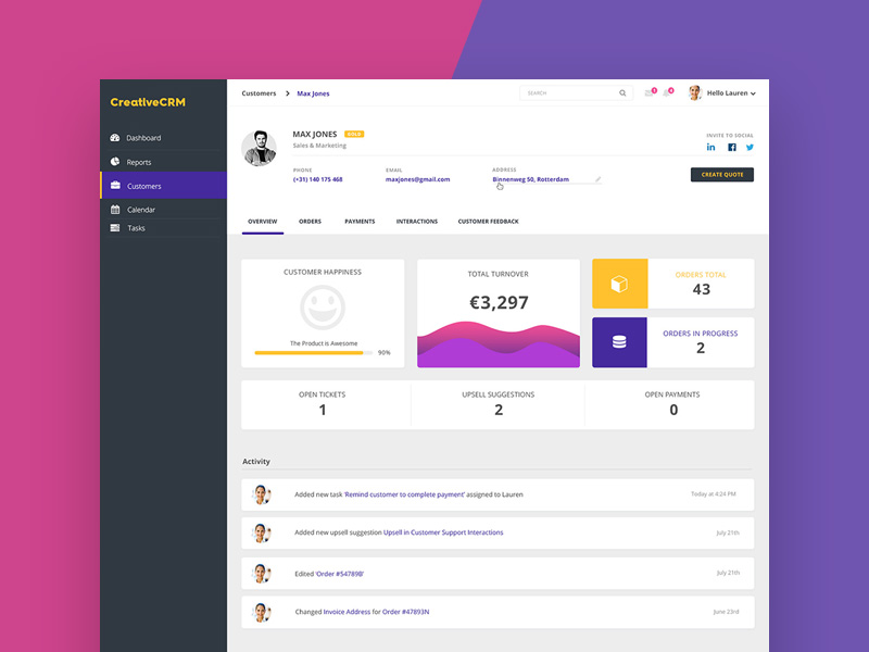 CRM Dashboard UI Template
