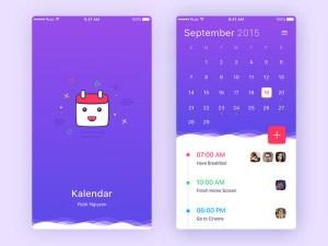 Free Colorful Calendar UI Design
