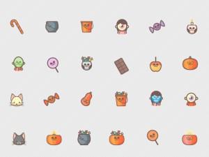 Cute Halloween Icon Set