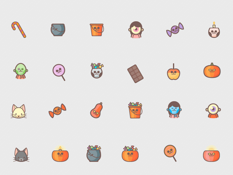 Cute Halloween Icon Set