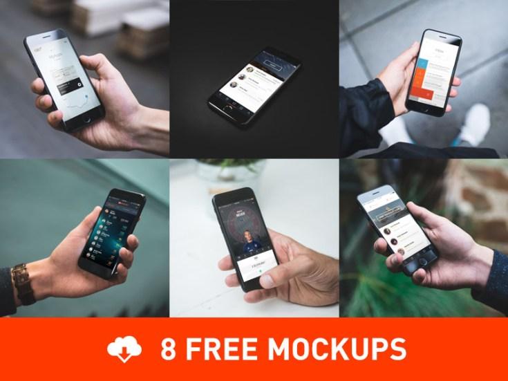8 Free Photorealistic iPhone 7 Mockups