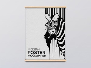 Free Modern Wooden Poster Frame Mockup