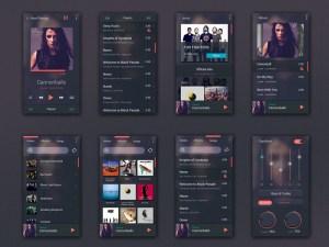Free Music Player UI Kit PSD