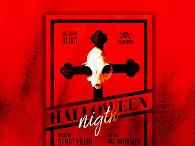 Red Halloween Night Flyer Template
