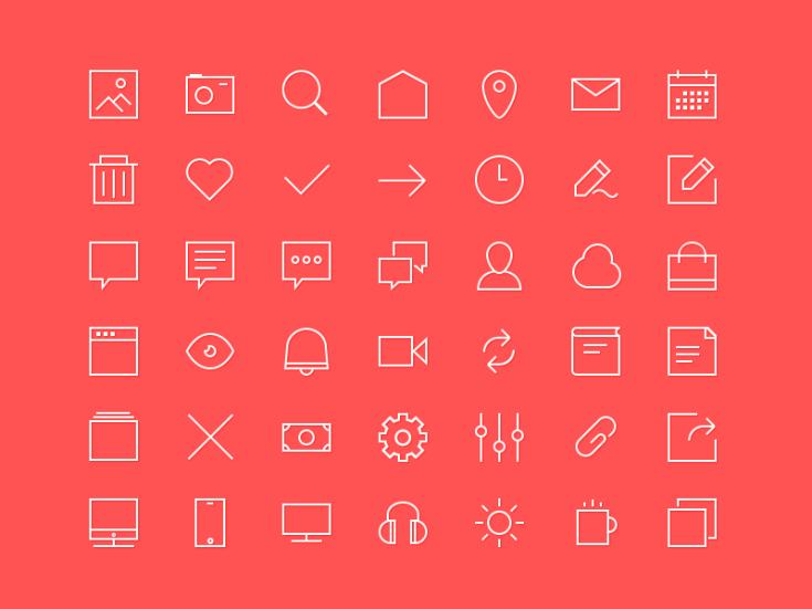 Small Line Icon Set PSD