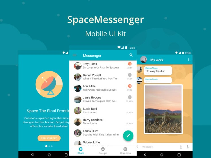 SpaceMessenger : Free Mobile UI Kit