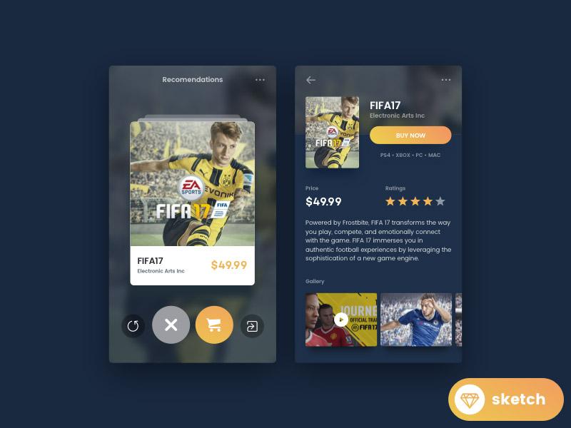 Tinder For Game UI Design