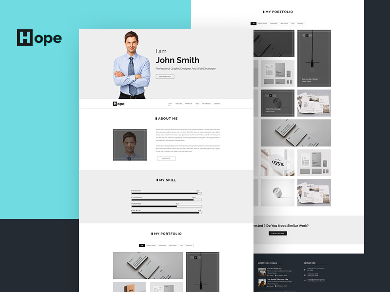 Hope : Simple Personal Portfolio PSD Template