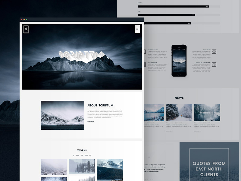 Scriptum Modern One Page PSD Template