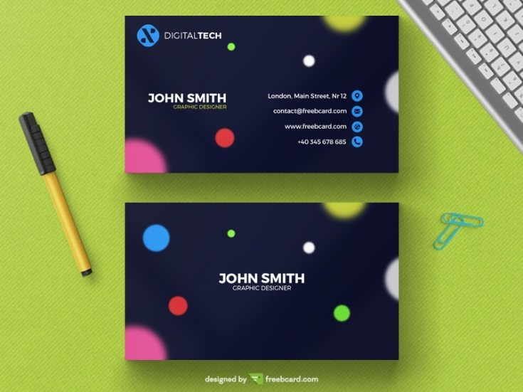Free Blurred Circle Business Card Template