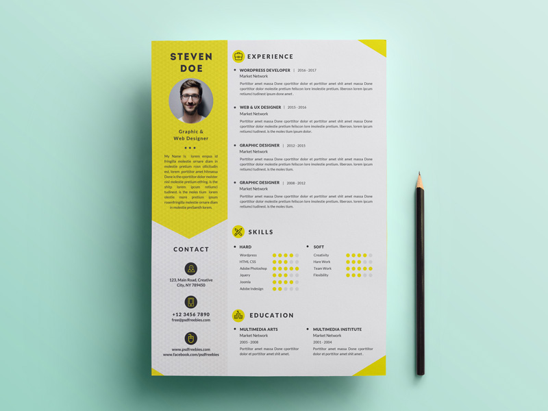 Free Clean Resume Template PSD Free Download Freebiesjedi
