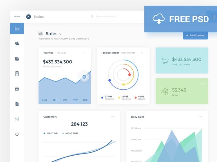 Kavina Dashboard Analytics PSD Template