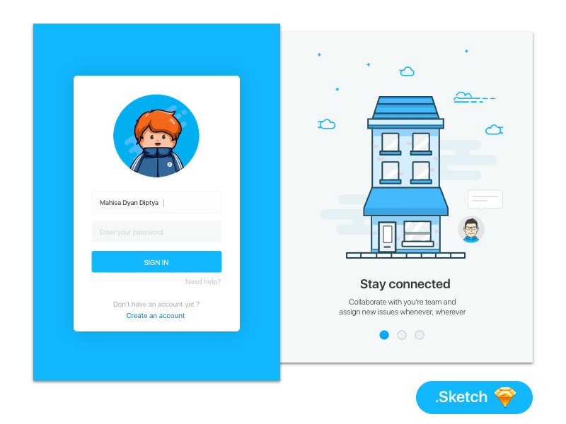 Login UI Design with Animation Character