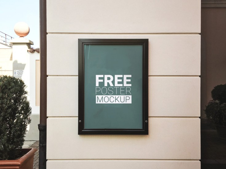 Free Outdoor Wall Poster MockUp