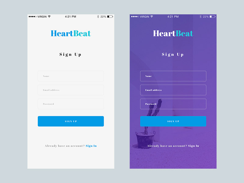 Sign Up App UI Screen
