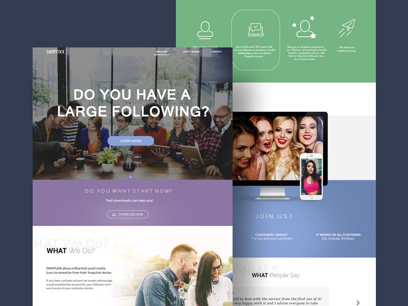 SnapFixx Landing Page PSD Template