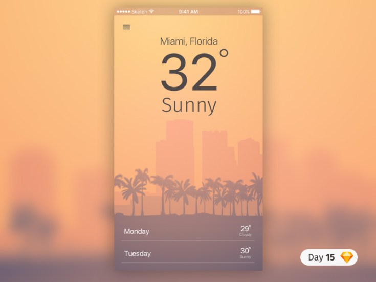 Free Weather App UI Sketch