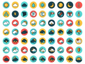Flat Vector Weather Icon Set