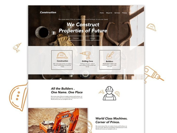 Free Construction Website Template