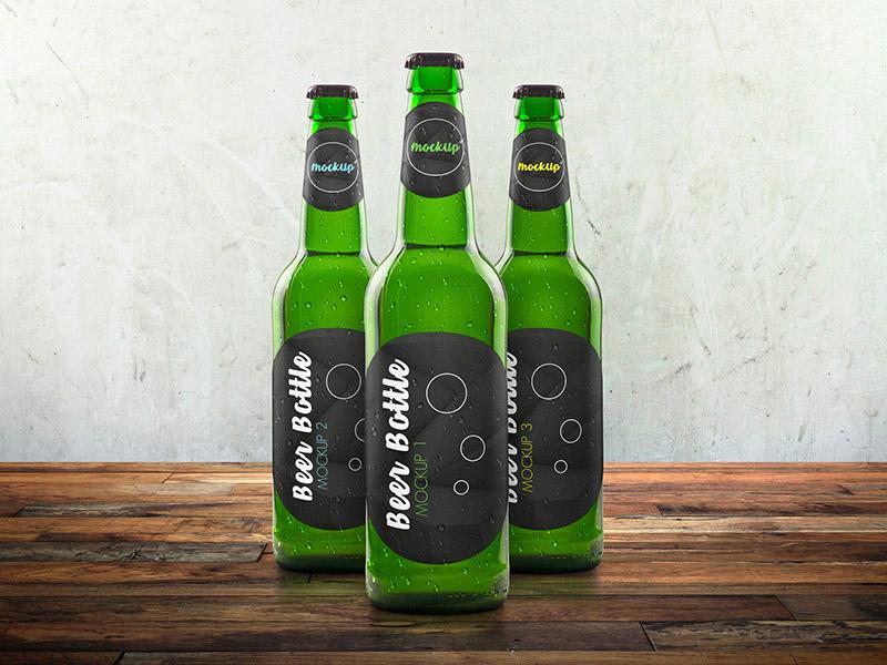 Glass Beer Bottle Mockup