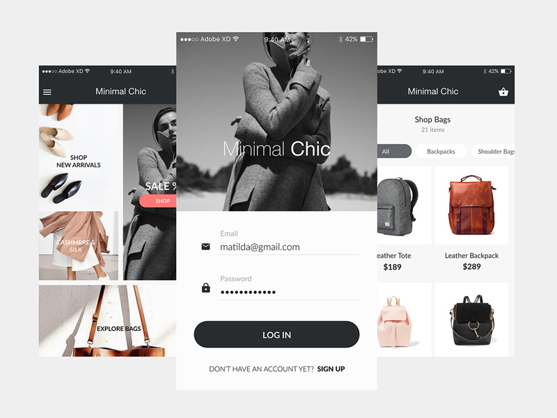 Minimal Chic : Mobile Ecommerce UI Kit