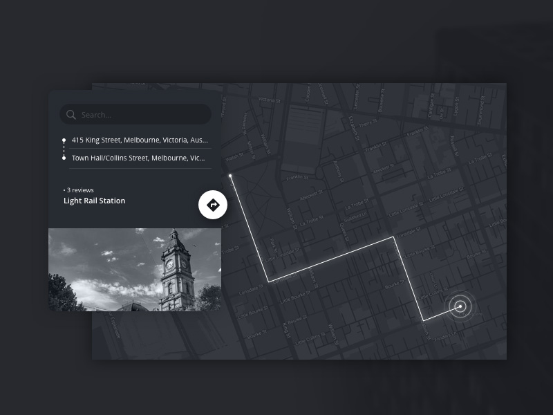 Monochromatic Map Widget UI