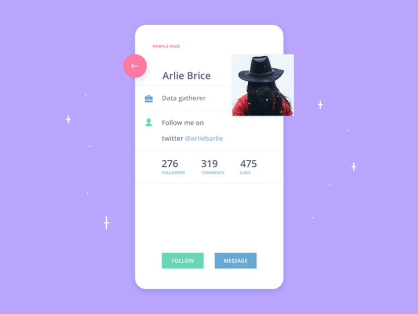 Profile Screen App UI PSD