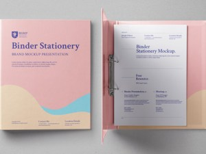 free Ring Binder Stationery Mockup
