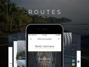 Routes free mobile UI Kit