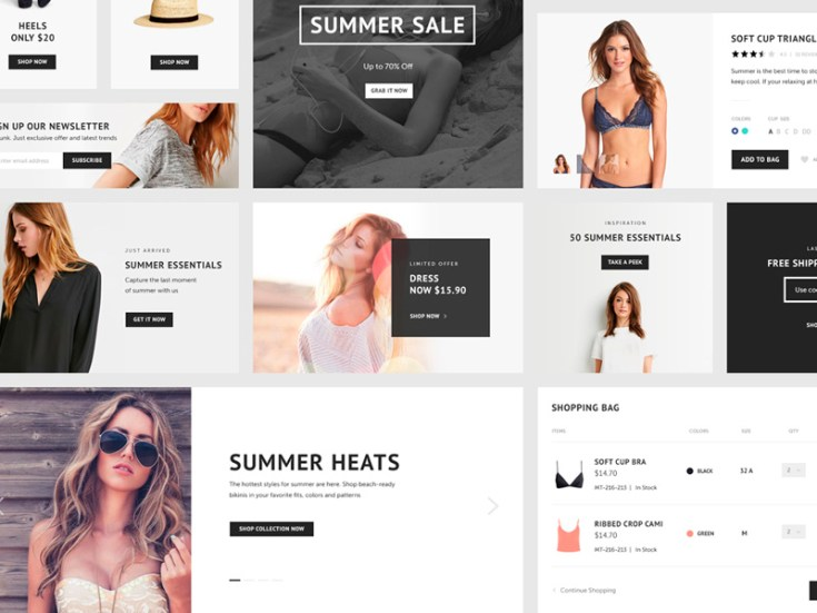 Free Sale Ecommerce UI Kit PSD