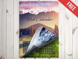 Free Wall Calendar mockup psd