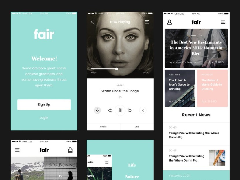 Fair : Free Mobile UI Kit