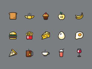free food icon set