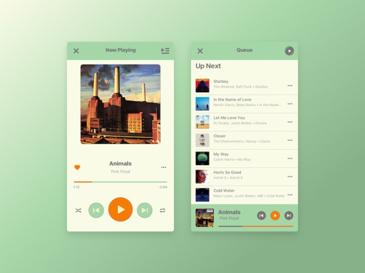 Free iPhone Mp3 Player UI Sketch