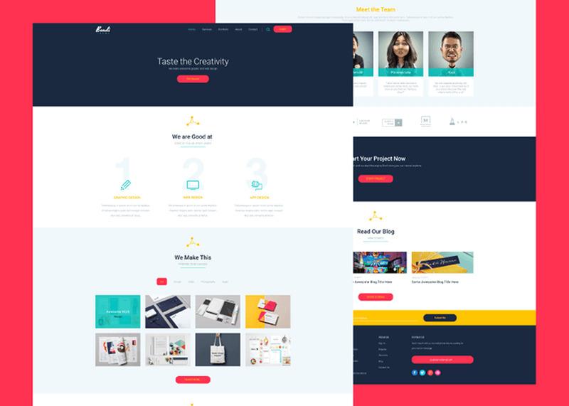 Bondi : Colorful PSD Landing Page Template