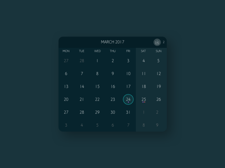 Clean Dark Calendar UI
